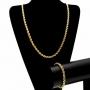 18K Gold filled rope chain necklace and bracelet set