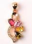 18K Y Gold Filled Floral Pink Topaz, Peridot, Citrine Pendant
