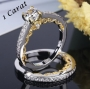 2 PCs Wedding Set Sterling Silver 1 carat CZ