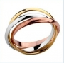925 Sterling Silver 3 Colour 3 Circle Ring Size 8