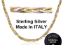 925 Sterling silver Tri Colour Weave Chain made in Italy. 16in