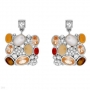Agates, Chalcedonies, Mother of Pearls, Toger Eyes Earrings