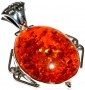 Amber Silver Pendant 1.7in