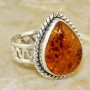 Baltic Amber Heart Shaped Ring Sterling Silver Size 6.50