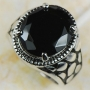 Beautiful Black Onyx Sterling Silver Ring  Size 11
