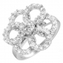 Beautiful Sterling Silver Ring w/ 47 Cubic Zirconias. Size 6