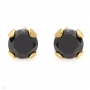 Black Cubic Zirconia Earrings in Yellow Gold Plated silver