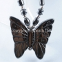 Black Hematite Gem Butterfly Beads Pendant Necklace 17 1/2in