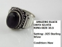 Black Onyx Sterling Silver Ring. Size 10