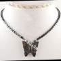 Black non-magnetic hematite butterfly necklace 17in