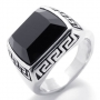 Black stone stainless steel ring size 12