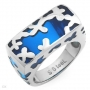 Blue Resin Stainless steel Ring Size 8.5