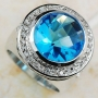 Blue Topaz 925 Sterling Silver Ring Size 11