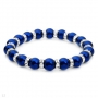 Bracelet w/Crustals and Blue Faux Pearls  7.75in