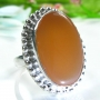 Chalcedony Silver Ring Size 7.