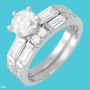 Cubic Zirconia Wedding Ring Set   in Sterling Silver  Size 5