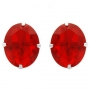 Earrings Red Oval Simulated Gems deigned in Sterling Silver