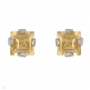 Earrings  Square Yellow Citrine designed in Sterling Silver