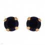 Earrings with 10K YG Posts designed with created round blue sapp