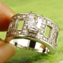 Emerald cut Clear White Topaz Wedding ring Size 7