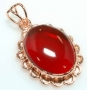 Garnet Quartz Glass Copper Pendant 1 7/8in