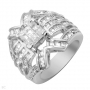 Heavy Sterling Silver Ring with 7.65 ctw Cubic Zirconias