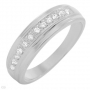 Men' Ring Band with CZ in Sterling silver Size 7.5