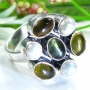 Multi-Gems Silver Ring Size 8.25