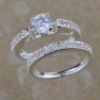 Sterling silver White Topaz Wedding Ring Set Size 7.75