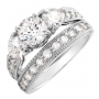 Wedding ring set w/7.77ctw CZ crafted in Sterling Silver  Size 7